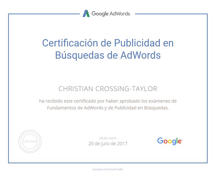 Certificación en Google Adwords