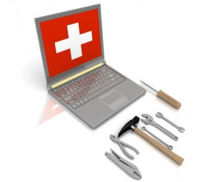 The laptop with the complete set of tools for repair
